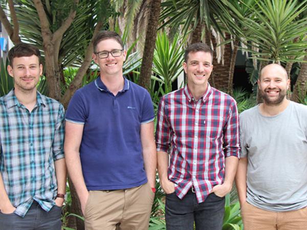 L-R: Mathias Hansen, Associate Professor Max Cryle, Dr Thierry Izore and Dr Julien Tailhades